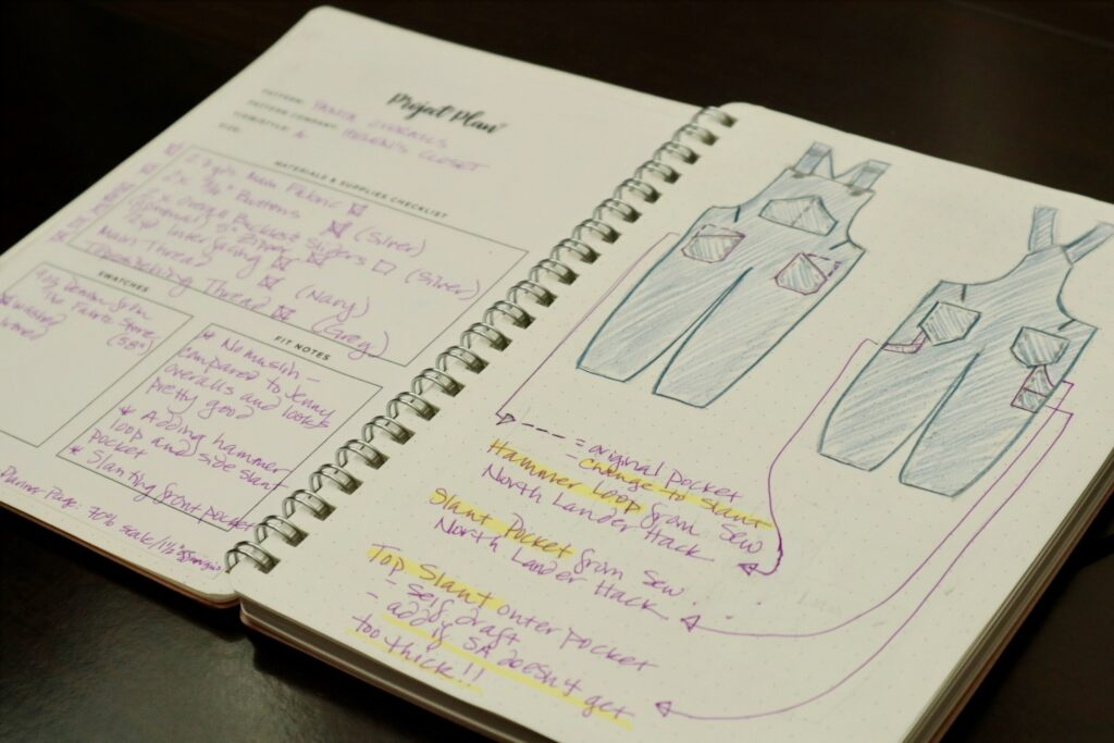 Close up of a spiral sketch book with a drawing of blue overalls.