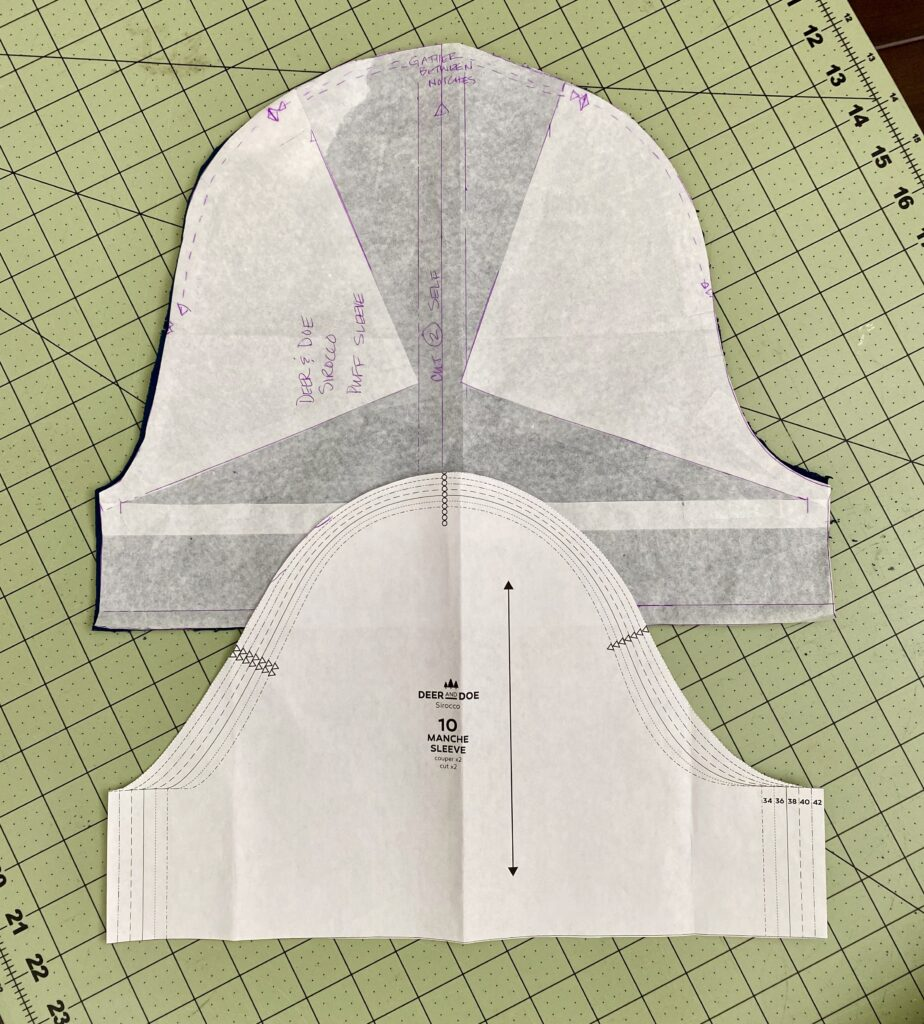 Detail shot of sleeve pattern alteration.